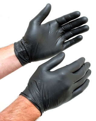 Black gloves from box
